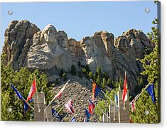 Mount Rushmore With Flags Acrylic Print