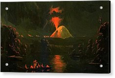 Mount St Helens Erupting At Night Acrylic Print