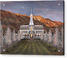 Mount Timpanogos Temple Acrylic Print by Jeff Brimley