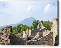 Mount Vesuvius Beyond The Ruins Of Pompei Acrylic Print by Allan Levin