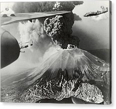 Mount Vesuvius Coughs Up Ash And Smoke Acrylic Print by Us Army Air Forces Official