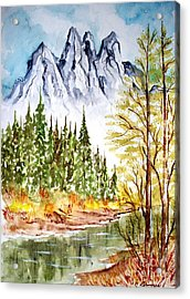 Acrylic Print featuring the painting Mountain Alps by Carol Grimes