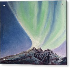 Mountain Aurora Acrylic Print by Stanza Widen