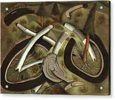 Acrylic Print featuring the painting Tommervik Abstract Mountain Bike Art Print by Tommervik