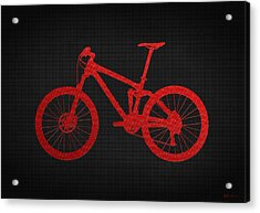 Mountain Bike - Red On Black Acrylic Print
