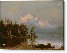Mountain Canoeing Acrylic Print by Albert Bierstadt