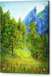 Mountain Field Springtime Acrylic Print