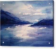 Mountain Lake In Blue Acrylic Print by Suzanne Krueger