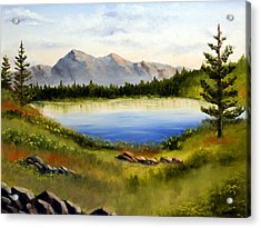 Mountain Lake Landscape Oil Painting Acrylic Print by Mark Webster