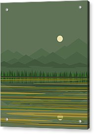 Acrylic Print featuring the digital art Mountain Lake Moon by Val Arie