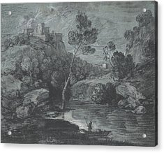 Mountain Landscape With A Castle And A Boatman Acrylic Print by Thomas Gainsborough