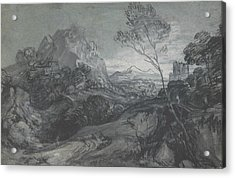 Mountain Landscape With Figures And Buildings Acrylic Print