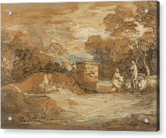 Mountain Landscape With Figures Sheep And Fountain Acrylic Print by Thomas Gainsborough