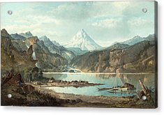 Mountain Landscape With Indians Acrylic Print