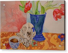 Acrylic Print featuring the painting Mountain Lion Skull Tea And Tulips by Beverley Harper Tinsley