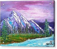 Mountain Meadow Landscape Scene Acrylic Print