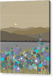 Mountain Meadow Morning Acrylic Print by Val Arie