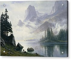 Mountain Out Of The Mist Acrylic Print by Albert Bierstadt