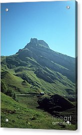 Mountain Peak With Farms Acrylic Print
