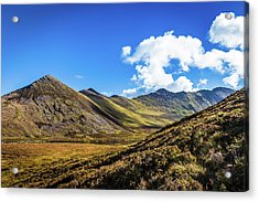 Mountain Range And Valleys In Kerry In Ireland On A Sunny Day Wi Acrylic Print by Semmick Photo