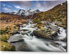 Mountain River Snowdonia  Acrylic Print by Adrian Evans