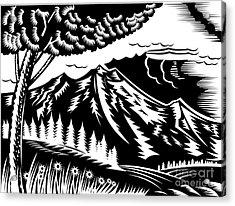 Mountain Scene Woodcut Acrylic Print by Aloysius Patrimonio