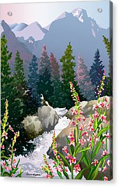 Acrylic Print featuring the digital art Mountain Stream by Anne Gifford