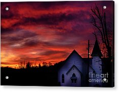 Acrylic Print featuring the photograph Mountain Sunrise And Church by Thomas R Fletcher