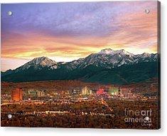 Mountain Twilight Of Reno Nevada Acrylic Print by Vance Fox