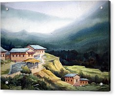 Acrylic Print featuring the painting Mountain Village From Top View by Samiran Sarkar