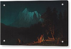 Mountainous Landscape By Moonlight Acrylic Print