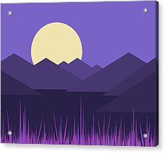 Acrylic Print featuring the digital art Mountains And A Lavender Sky by Val Arie
