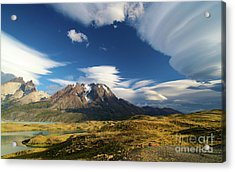 Mountains And Clouds In Patagonia Acrylic Print