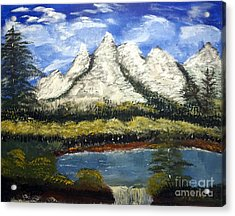 Mountains And Evergreens Acrylic Print
