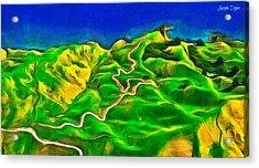 Mountains And Ocean - Pa Acrylic Print by Leonardo Digenio