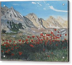 Acrylic Print featuring the painting Mountains And Poppies by Betty-Anne McDonald