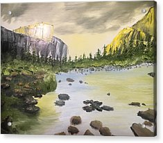 Mountains And Stream Acrylic Print