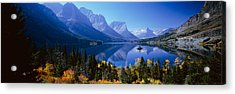 Mountains Reflected In Lake, Glacier Acrylic Print by Panoramic Images