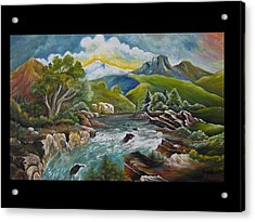 Mountain's River Acrylic Print by Netka Dimoska