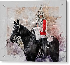 Mounted Household Cavalry Soldier On Guard Duty In Whitehall Lon Acrylic Print
