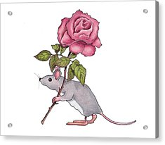 Mouse With Pink Rose Acrylic Print