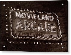 Acrylic Print featuring the photograph Movieland Arcade - Gritty by Stephen Stookey