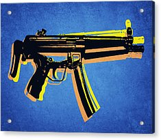 Acrylic Print featuring the digital art Mp5 Sub Machine Gun On Blue by Michael Tompsett