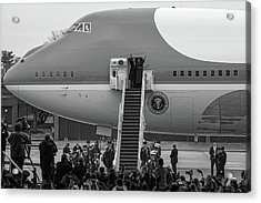 Mr And Mrs Obama Waving On Air Force One Waving Goodbye After Leaving Office Acrylic Print by Valentina Lopez