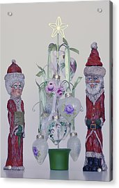 Mr. And Mrs. Santa Claus Acrylic Print by Quwatha Valentine