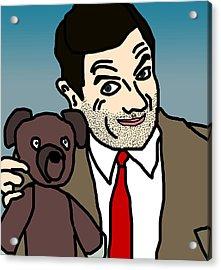 Mr Bean And Teddy Acrylic Print by Jera Sky