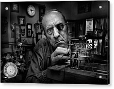 Mr. Domenico, The Watchmaker, To Work With Complicated Mechanisms Acrylic Print by Antonio Grambone