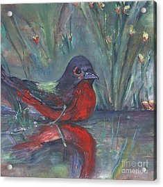 Acrylic Print featuring the painting Mr. Finch by Helena Bebirian