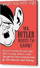 Mr Hitler Wants To Know - Ww2 Propaganda  Acrylic Print