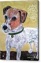 Acrylic Print featuring the painting Mr. R. Terrier by Reina Resto